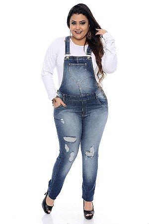 Jardineira Jeans Plus Size Maria Luiza