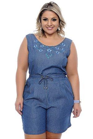 Macaquinho Jeans Plus Size Kerina