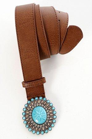 Cinto Plus Size Pedraria Azul