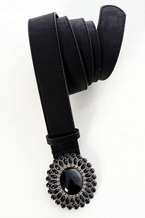Cinto Plus Size Pedraria Pérola Negra