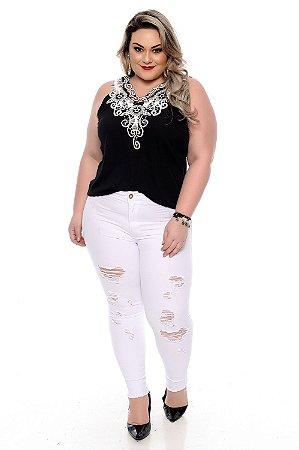 Calça Branca Plus Size Eliany