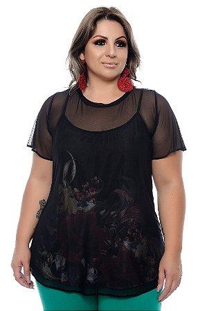 Blusa Sobreposta Plus Size Edma