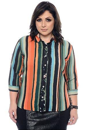 Camisa Listrada Plus Size Gilca