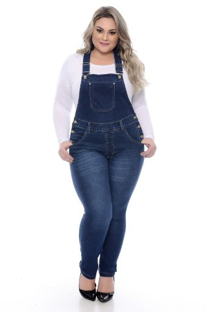 Jardineira Jeans Plus Size Keia