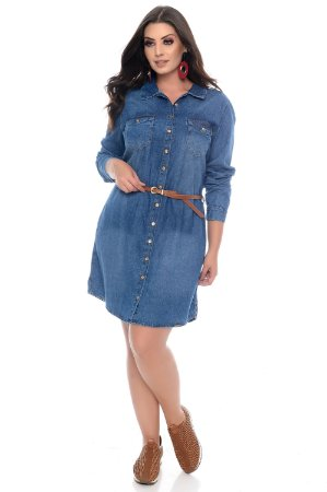 4a12df1b4f Vestido Jeans Plus Size Alimos