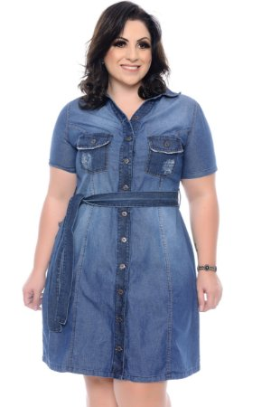 Vestido Jeans Plus Size Sidelle