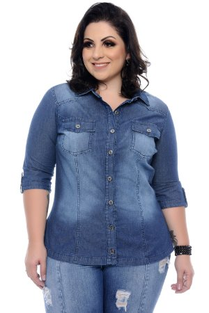 Camisa Jeans Plus Size Betha