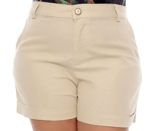 Shorts Linho Plus Size Emelyn
