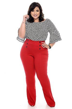 Calça Flare Vermelha Plus Size Martha