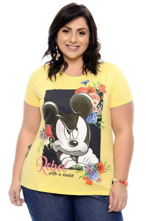 T-Shirt Plus Size Rebel Amarelo