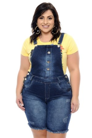 08741dc000 Jardineira Jeans Plus Size Loreta