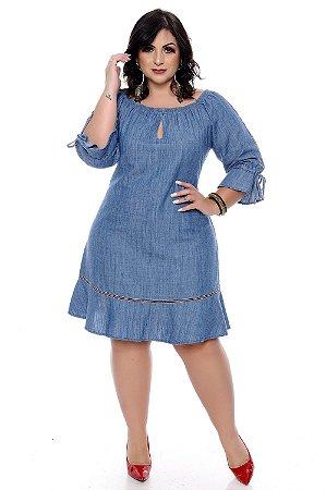 76a8bed3950f Vestido Jeans Plus Size Nandely | Daluz Plus Size - Loja Online ...