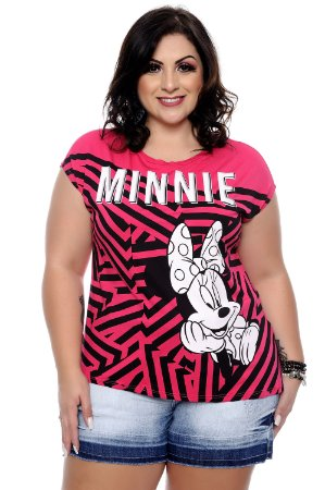 Blusa Plus Size Minnie Rosa