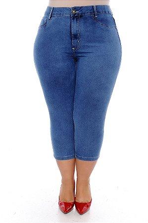 Calça Capri Jeans Plus Size Minely