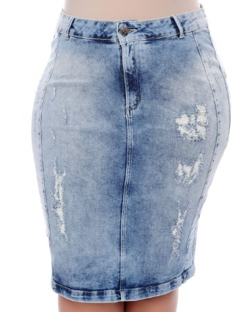 Saia Jeans Plus Size Sheile