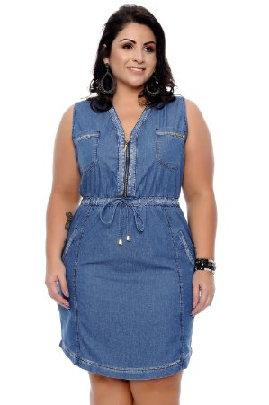 c1ca3de9a Vestido Jeans Plus Size Anabela | Daluz Plus Size - Loja Online ...