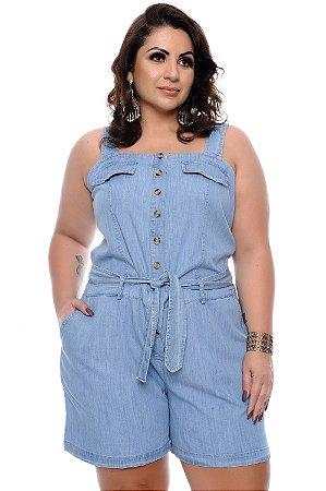 Macaquinho Jeans Plus Size Kelle