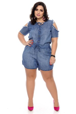 Macaquinho Jeans Plus Size Aydil