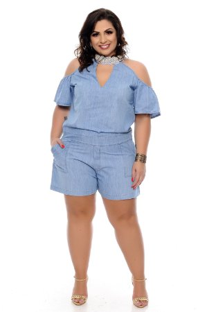 Macaquinho Jeans Plus Size Glaete