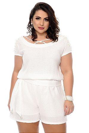 Macaquinho Linho Plus Size Rafyza