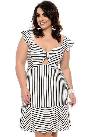 Vestido Listrado Plus Size Glenda
