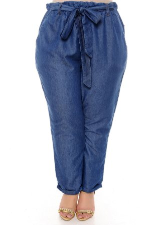 Calça Clochard Jeans Plus Size Mairi