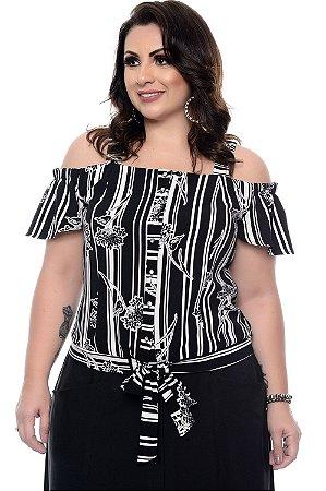 Blusa Listrada Plus Size Consuele