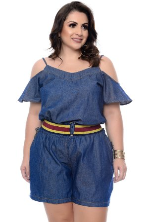 Macaquinho Jeans Plus Size Adena