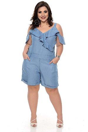 Macaquinho Jeans Plus Size Laura