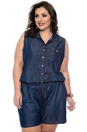 Macaquinho Jeans Plus Size Ohye