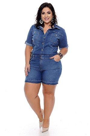 Macaquinho Jeans Plus Size Lis