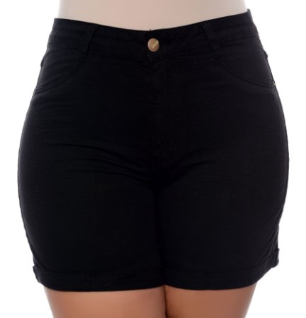 Shorts Preto Plus Size Nora