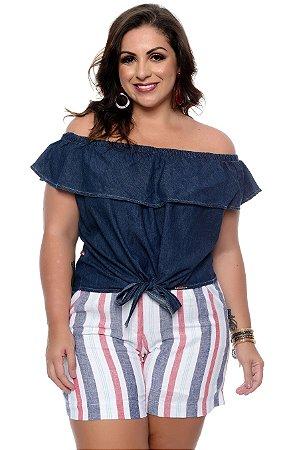 cd9c5a672 Blusa Ciganinha Jeans Plus Size Peggy| Daluz Plus Size - Loja Online ...