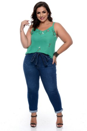 Calça Cigarrete Jeans Plus Size Tess