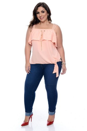 Calça Skinny Strass Jeans Plus Size Haline