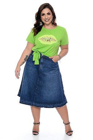 Saia Jeans Midi Plus Size Thida