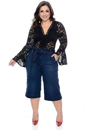 Calça Pantacourt Jeans Plus Size Dailli