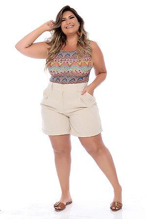 Shorts de Linho Plus Size Kathini