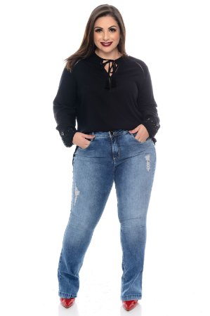 Calça Flare Jeans Plus Size Hadya
