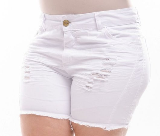 Shorts Plus Size Branco