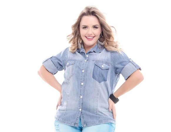 Camisa Plus Size Jeans Fashion