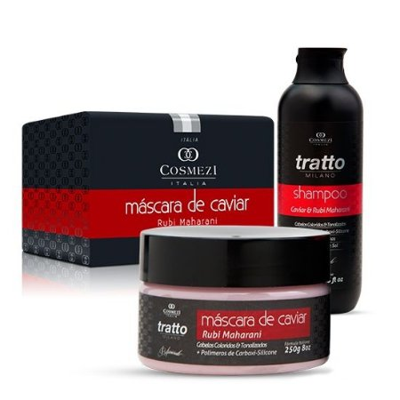Kit tratamento Hidratante Brilho e Reconstrução Para Cabelos Coloridos e Tonalizados - Caviar e Rubi
