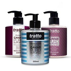 Kit Caviar Puro Europeu - Tratamento Diário - Shampoo Condicionador e Shower Gel