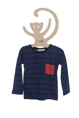 T-Shirt Listrada Azul Marinho e Preto, Manga Longa
