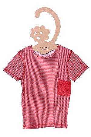 T-Shirt Lelê Listrada Bolso Vermelho