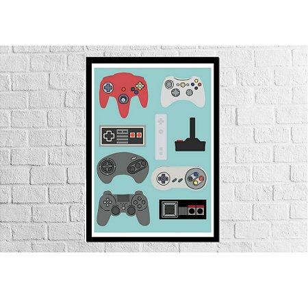 Pôster Emoldurado Controles Videogames - Meu Game Barato