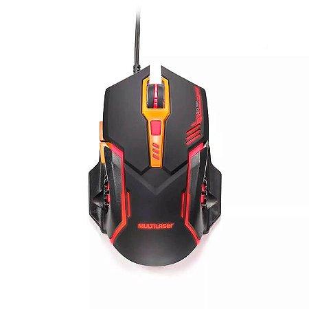Mouse Gamer DPI 2400 Preto/laranja Multilaser - MO270