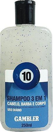 Shampoo 3 Em 1 Bola 10 - Uso Diário 250ml Gambler