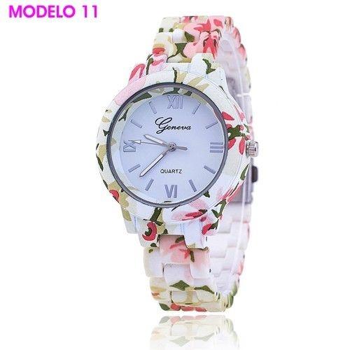 Relógio Geneva Floral Linha Vintage Estampas Exclusiva