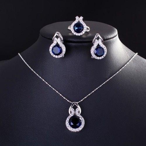 Conjunto Trio  Elegancia Safira em Prata 925  Colar Brincos e Anel com pedra Zirconia Safira Coleção Joias da Princesa